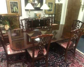 THOMASVILLE MAHOGANY CHIPPENDALE DINING SET 2 ARM AND 6 SIDE CHAIRS 2 LEAVES AND PADS CHAIRS COVER IN TOILE FABRIC