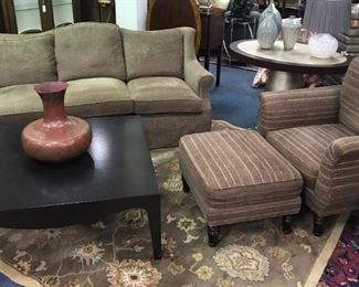DAPHA UPHOLSTERED SOFA & CHAIR  DUCK DOWN FILLING CUSHIONS (DIVISION OF BAKER) TUFENKIAN AREA RUG