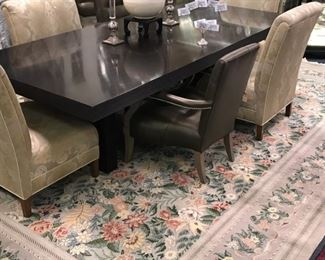 LARGE HAND KNOTTED AREA RUG SHOWN WITH 4 CUSTOM UPHOLSTRERED  SIDE CHAIRS ALONG WITH 8 LEATHER SIDE CHAIRS