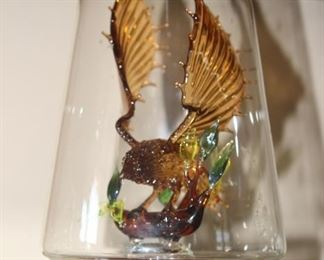 Hand blown Lymington Glass Mystique's glass bird under glass case.,