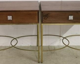 Matched pair one drawer brass base tables