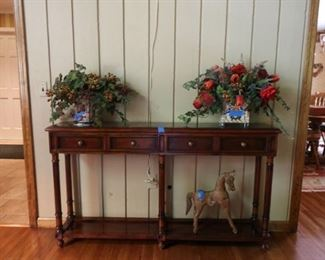 Marble top Console ,  Horse Statue, Faux Flowers
