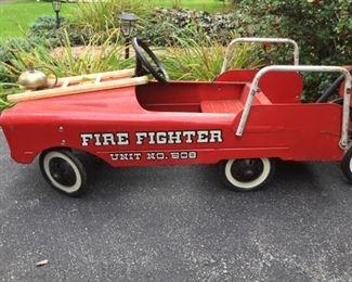 Vintage Fire Fighter Pedal Car & Wagon   https://ctbids.com/#!/description/share/235844