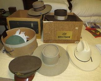 Vintage Stetson hats plus an old Girl Scouts and WWII Military Cap.