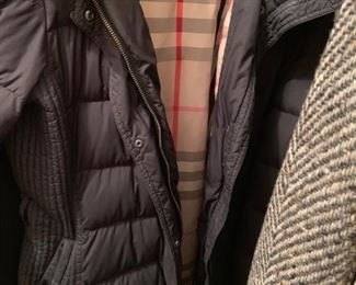 Lots of Burberry -- Jackets, coats, sweaters, scarves, shawl and more.