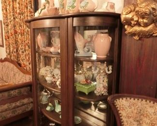 """Oak Bowfront China Cabinet, with original glass 54""""W"""