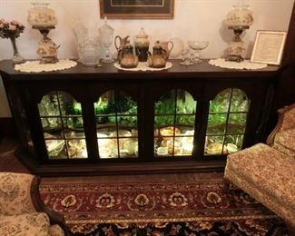 """Store Display Cabinet came from local store, has been refinished 9'2""""W 3'2""""H 2'D"""