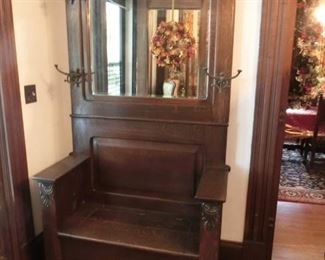 """Solid Oak Bench Seat Late 1800s Hall Tree 42"""" W 6'10"""" H 18""""D"""