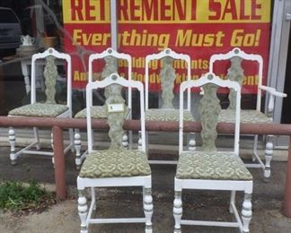 set of six chairs with one armchair
