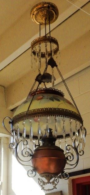 Antique hanging oil lamp - never been electrified