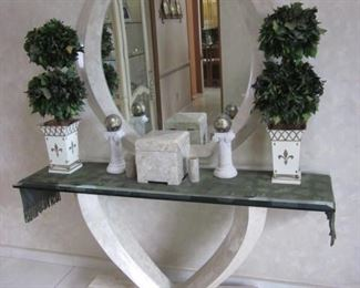 Marble Entry Console Table with Matching Mirror