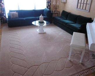 Plush Ethan Allen Green Sofa Suite