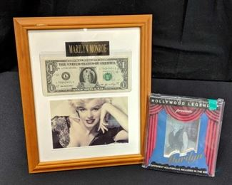 Marilyn Monroe Collectible Lot- One dollar bill with Marilyn in the center. Includes photo of Marilyn. All framed 8x10. Also includes 4 different holograms in a set.