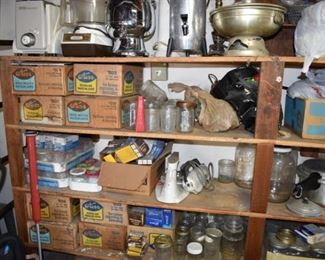Mason jars and canning supplies in garage