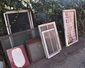 more antique window frames and glass!