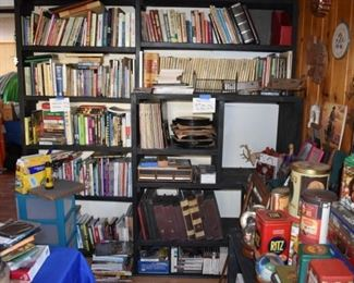 books, record albums (45, 78, vinyl and shellac-some one sided), reel to reel tapes, cassettes, VHS, DVD