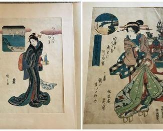 (2) Japanese prints, matted https://ctbids.com/#!/description/share/235960