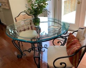 Stanley wrought iron table and two side chairs.