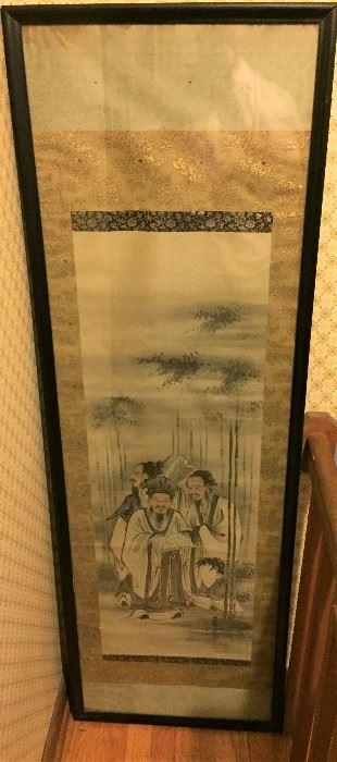 Asian fabric wall hanging