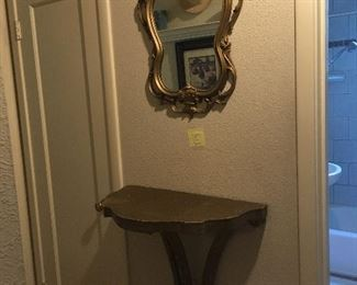 MATCHING MIRROR AND DEMI LUNE TABLE