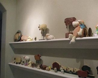 Large collection of sheep figurines
