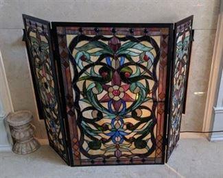 Tiffany style fireplace screen