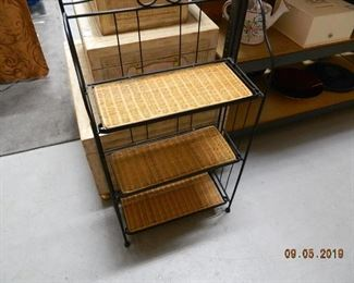 wicker display shelf