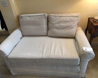 one of a pair of loveseats for sale asking $120 for the pair