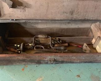 Primitive Wooden Tool box (iron hinges and latch) with wood-handled tools