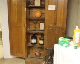Vintage quarter sawn oak storage cabinet, needs repair