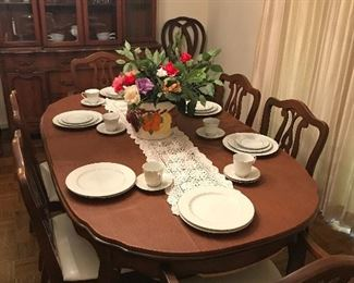 French style dining table and six chairs