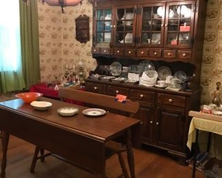 Ethan Allen Hutch, Drop Leaf Table & Bench