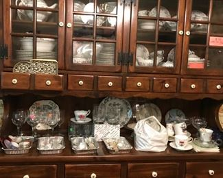 Ethan Allen Hutch, China, Glassware & MORE!!