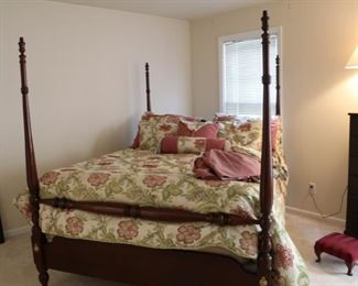 queen size bed, all wood with rails