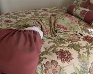 queen bed set includes comforter, bedskirt, 4 16x82 valances, 2 euro shams, 2 regular shams, 2 decorator pillows