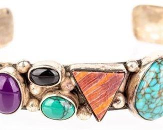 Lot 150 - Jewelry Sterling Silver Gemstone Cuff Bracelet