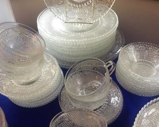Huge set Depression era Sandwich glass-cups, saucers, lunch & dinner plates-serving pieces, relish, platters more