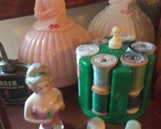 plastic mending kits-half doll-bakelite thread caddie