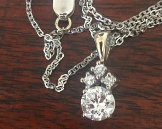 fabulous pendant white gold with approx .6 carat diamond--very white