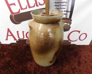 4 Gallon Salt Glaze Pottery Churn(Damaged Top)