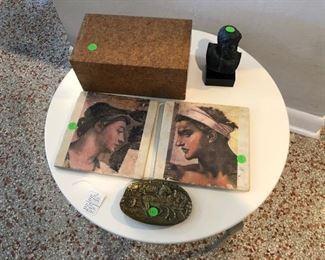 Cork remote box and decorative pieces, plus contemporary table.