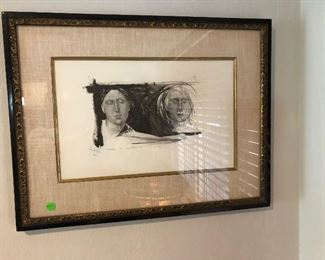Beautifully framed original charcoal drawing from the French Quarter in New Orleans.