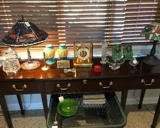 Hand crafted sideboard from Virginia; on table top is Steuben, Baccarat, Waterford, and antique Italian ceramics
