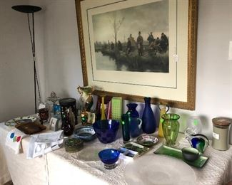 Hand painted engraving, framed.  Assorted decorative pieces and floor lamp.