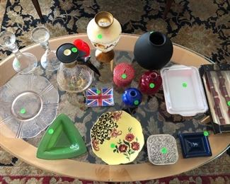 decorative items on top of Baker coffee table.