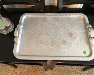Hammered aluminum MCM serving tray.