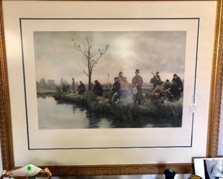 Hand painted engraving, framed.