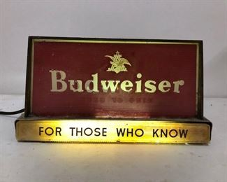 King of Beers !  Budweiser light-up register bar topper...for those who know. Old vintage material.