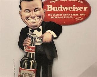 "Rare ""smiling Charlie"" standup cardboard Budweiser cutout."