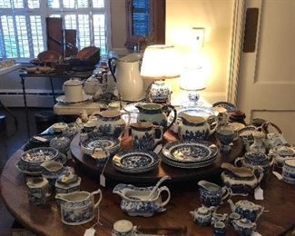 Many unique blue & white items, blue willow and other patterns as well, small adorable blue & white lamps